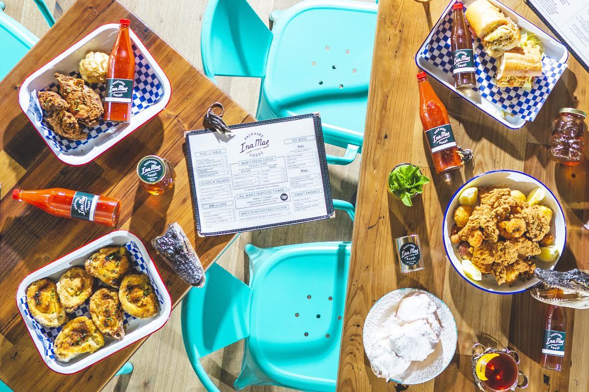 Tables of food at Ina Mae Tavern