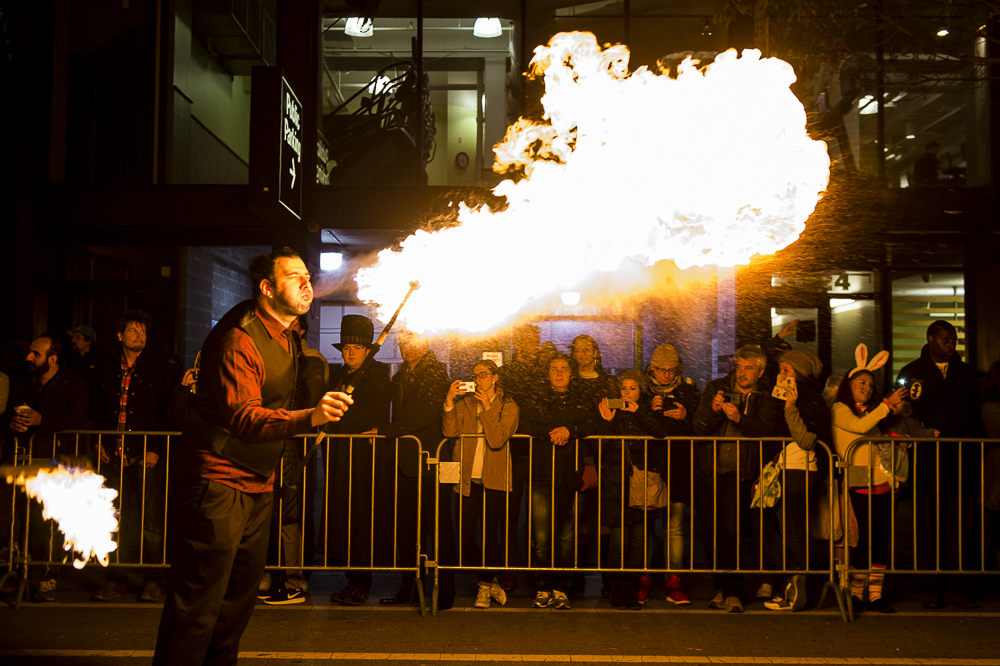A fire breather at a Chicago Halloween parade
