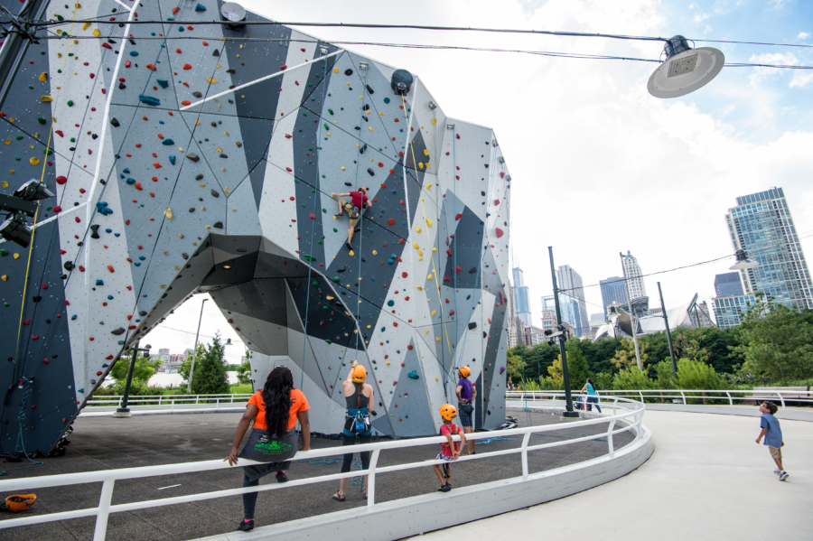 Rock climb at Maggie Daley Park