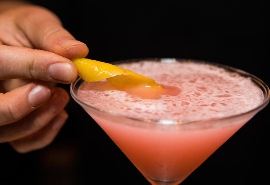 A pink cocktail from TAO