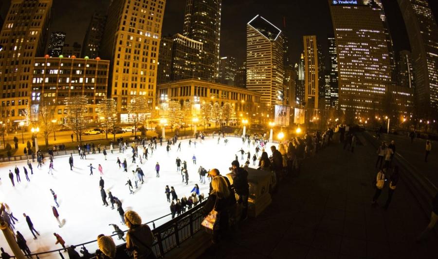 Millennium Park night ice skating