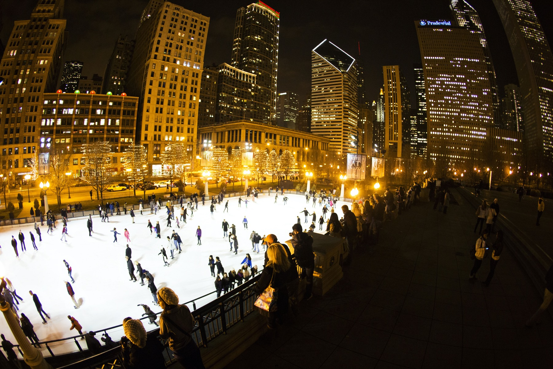 Nighttime Ice Skating