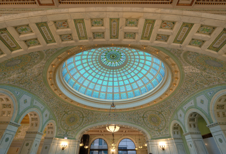 View of the ceiling in the Chicago Cultural Center