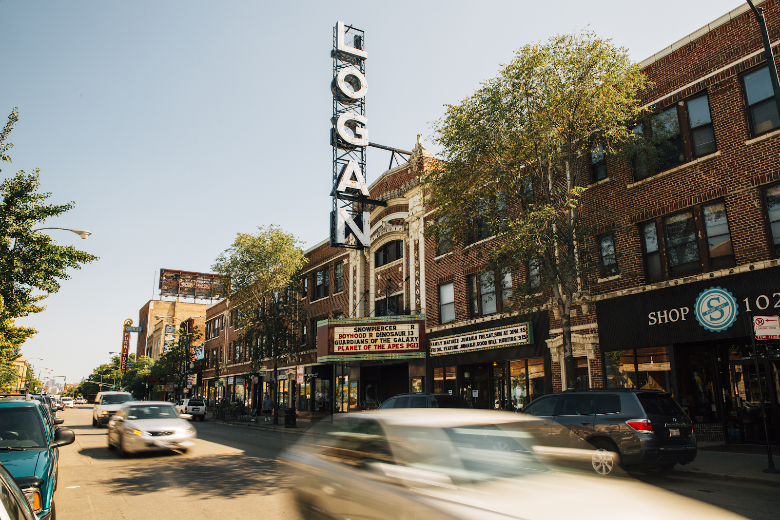 Exterior of Logan Theatre in Logan Square