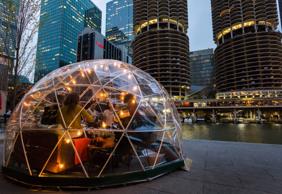 Nighttime view of a City Winery dome on the Chicago Riverwalk