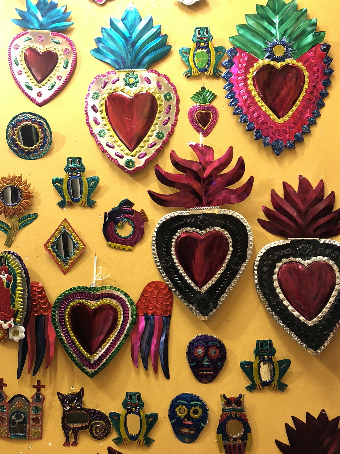 Hand crafted mirrors with traditional Mexican Symbols