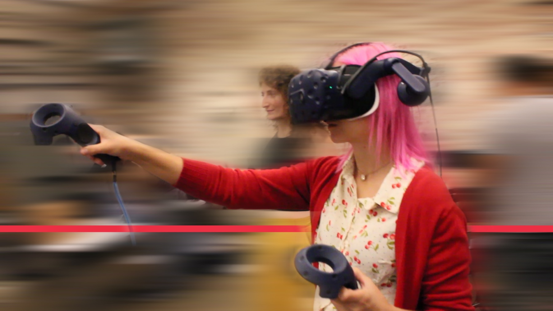A woman using VR