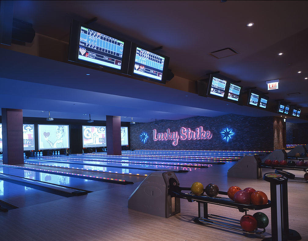 Bowling lanes at Lucky Strike
