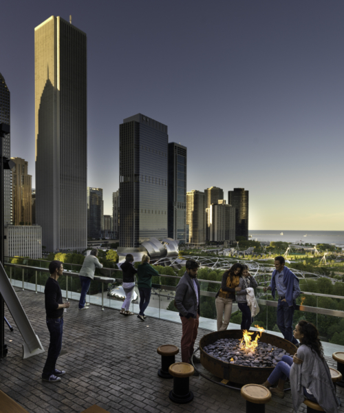 People at a rooftop space in Chicago