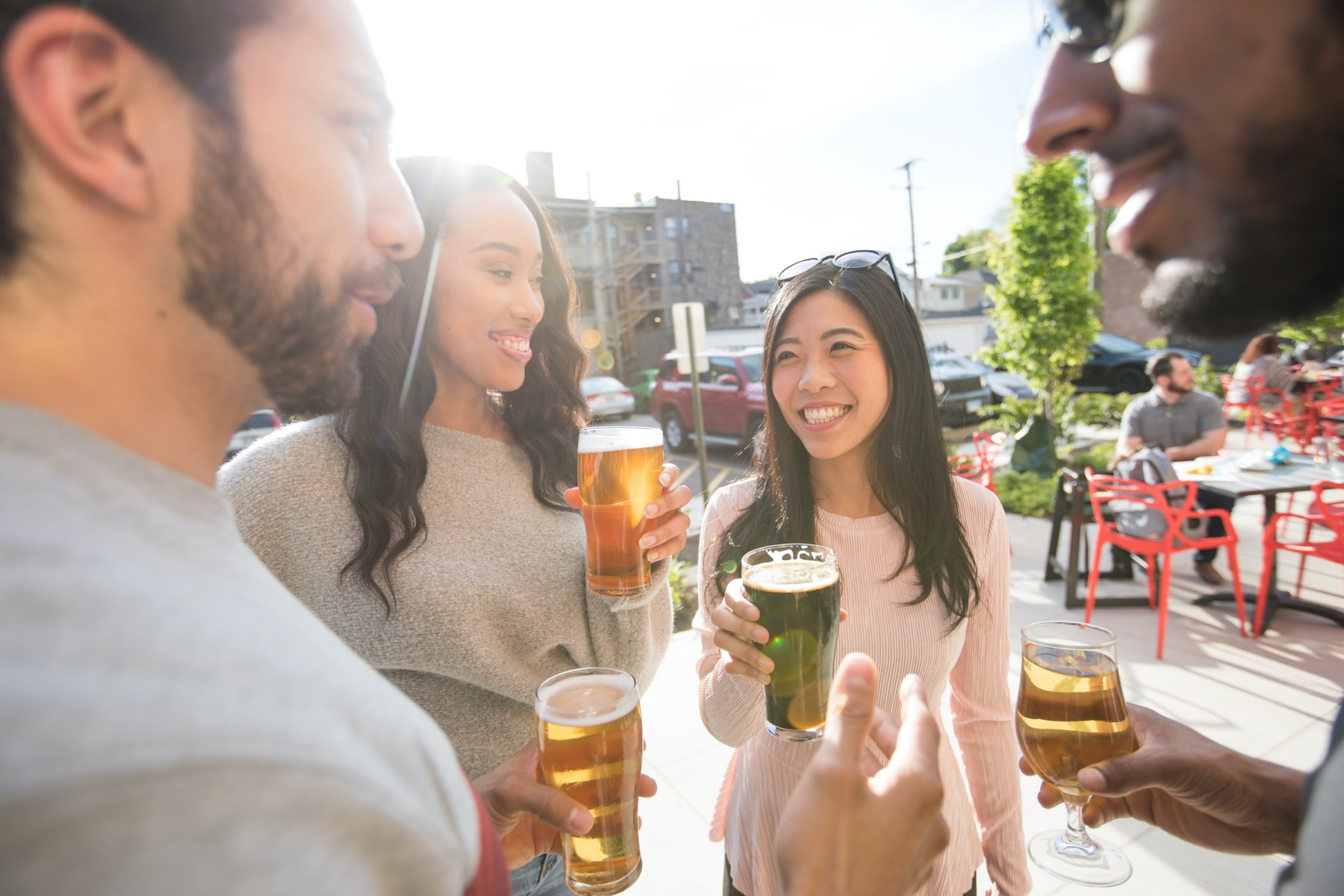 Drinking beer on the ERIS patio
