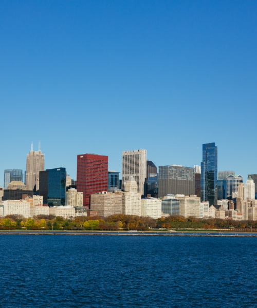 View of the skyline from Adler Planetarium