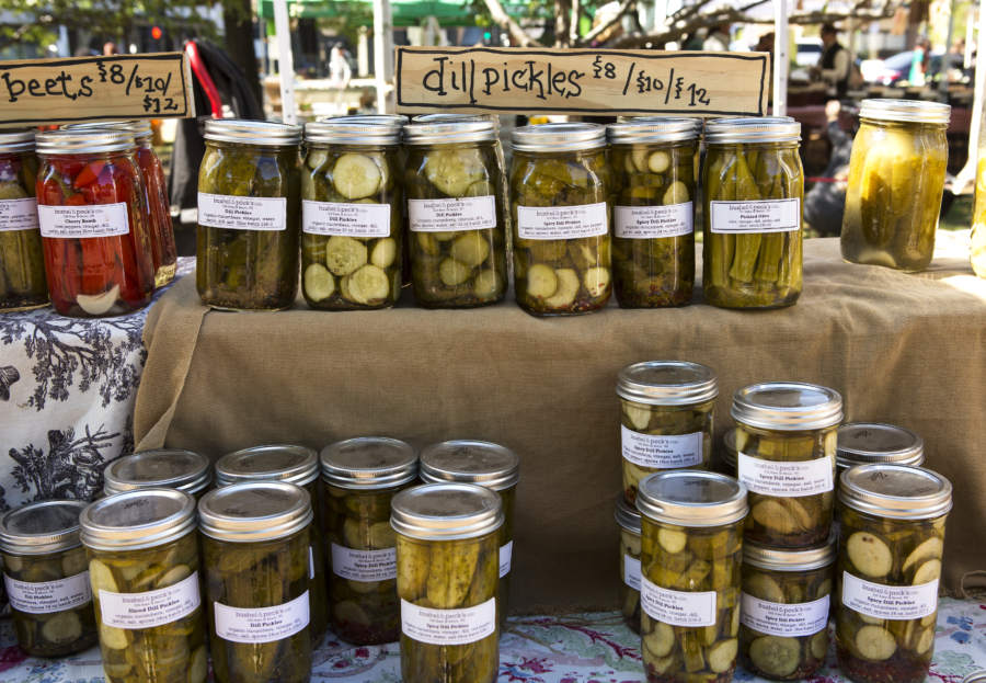 Jarred pickles for sale at a local Chicago farmers market