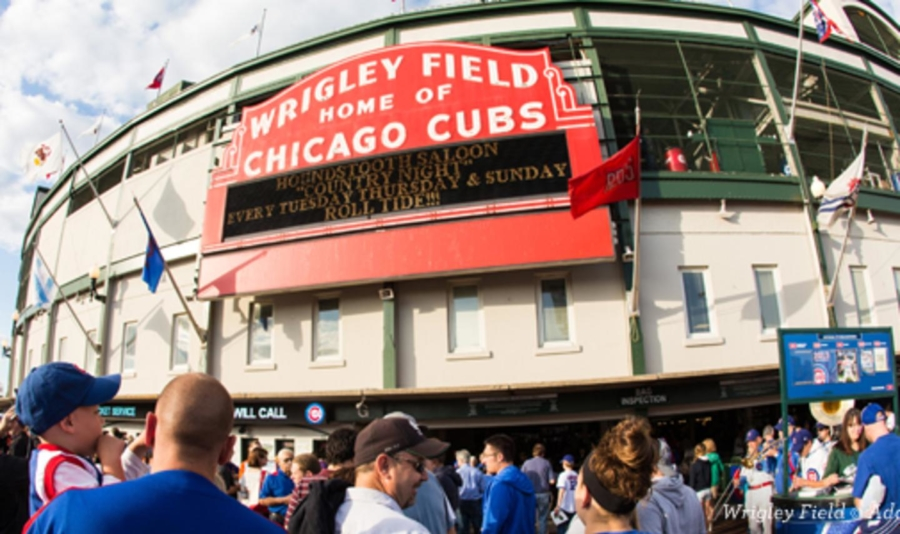 Wrigley Field red sign