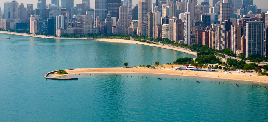aerial view of the north avenue breach in chicago