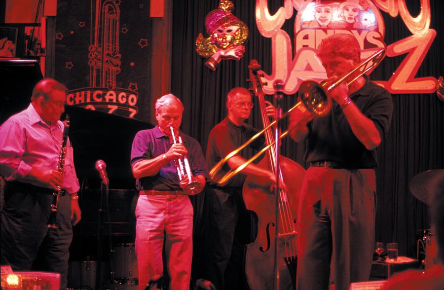 A band plays at Andy's Jazz Club Band