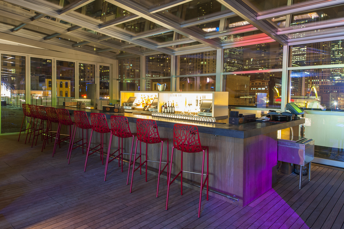 Interior of I|O Godfrey rooftop bar in Chicago