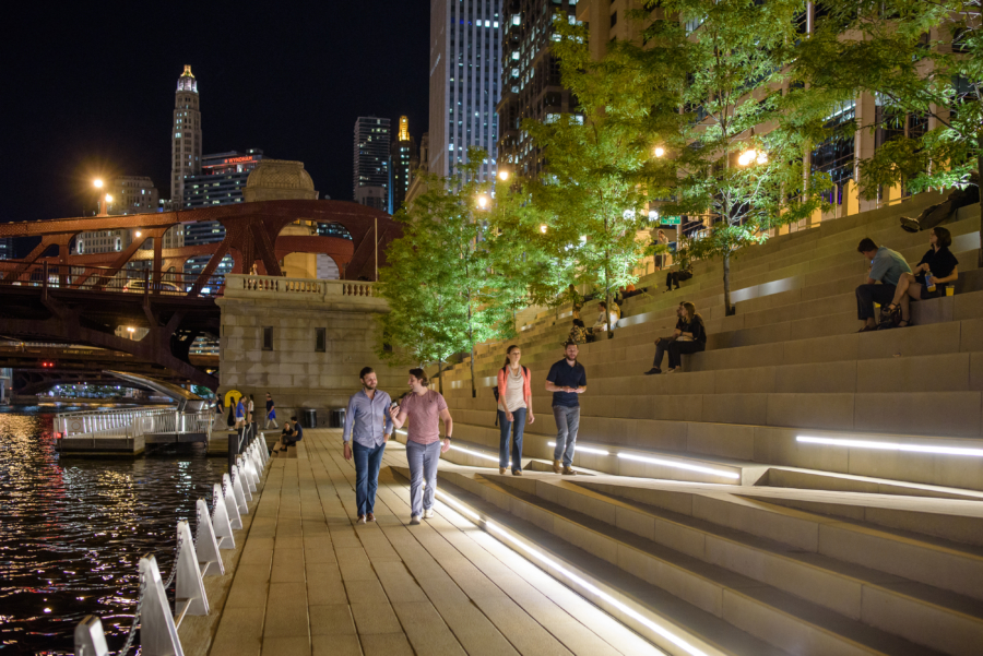 Chicago Riverwalk at night