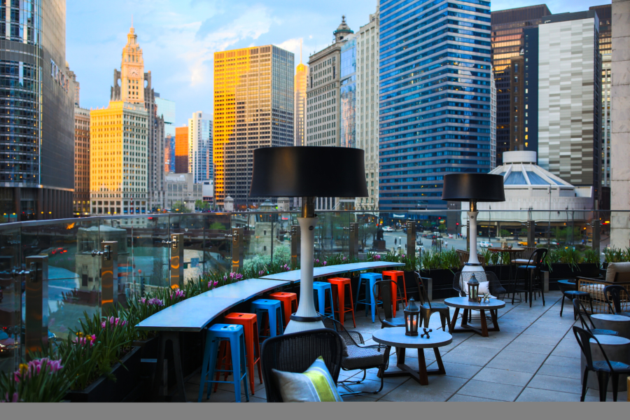 Rooftop seating at Raised in Chicago