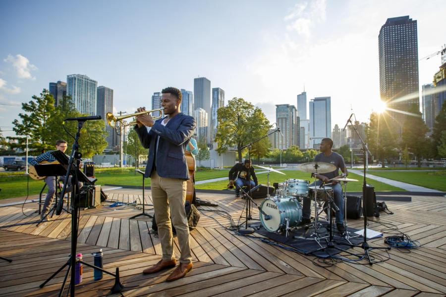 An outdoor concert at Navy Pier