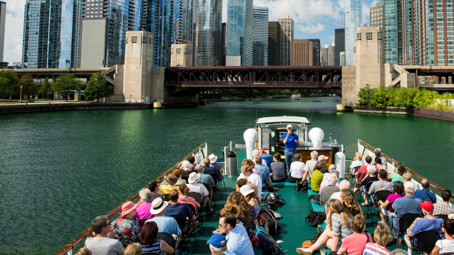 An architecture boat tour on the Chicago River