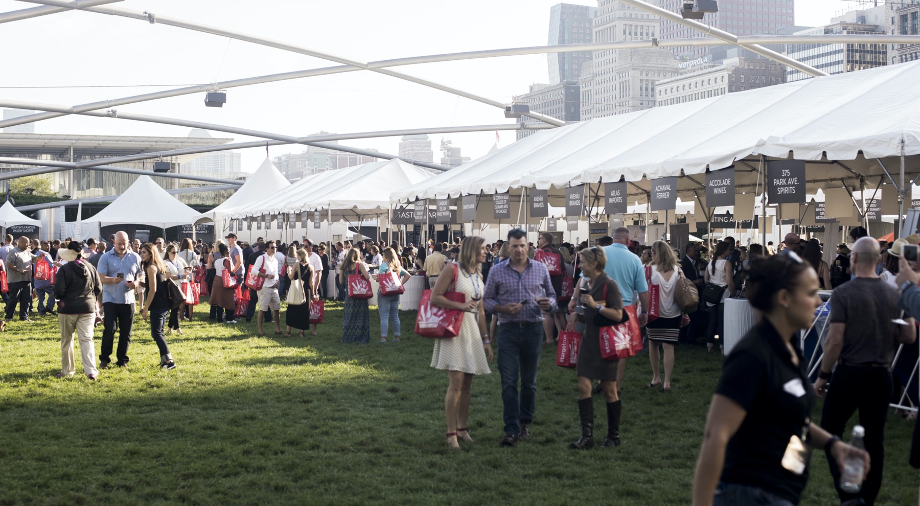 People visiting booths at Chicago Gourmet