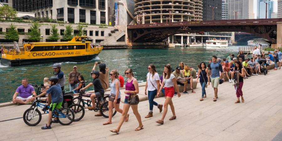 Chicago Riverwalk with people