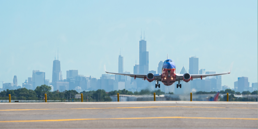 Plane taking off Chicago