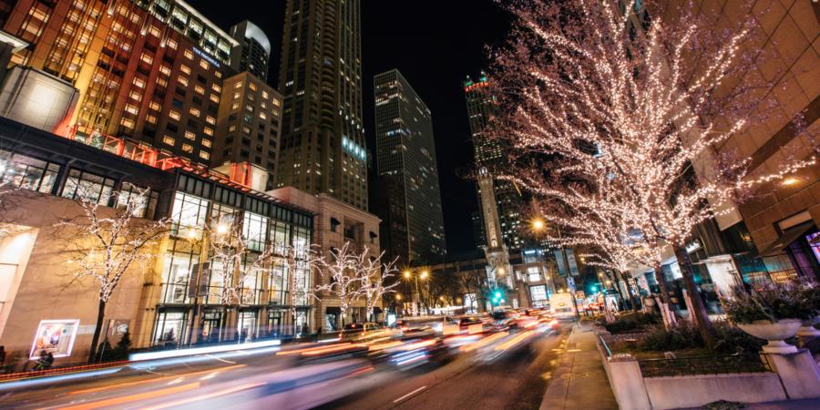 Lighted street at night