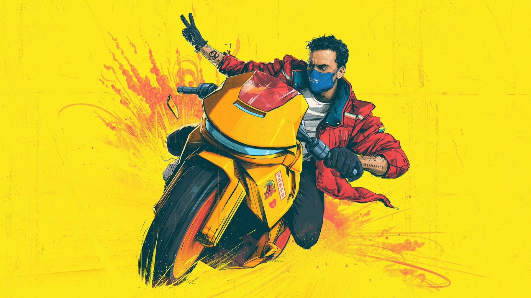 Drawing on a man on a motorcycle for Logic: The Confessions of a Dangerous Mind Tour in Chicago