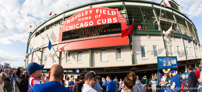 Shot of the front of Wrigley Field in Chicago