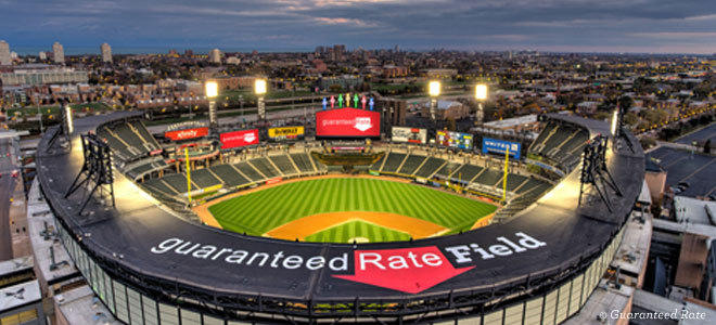 Shot of entire Guaranteed Rate Field in Chicago