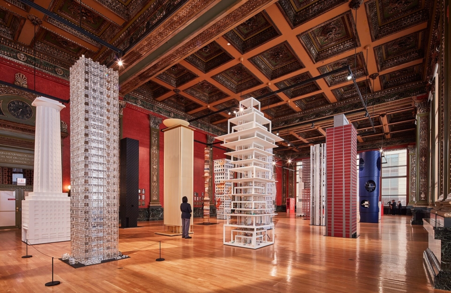 Models of buildings at the 2019 Chicago Architecture Biennial