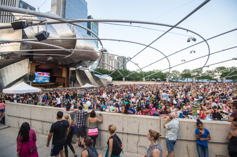 People gather in Millennium Park for the Summer Film Series