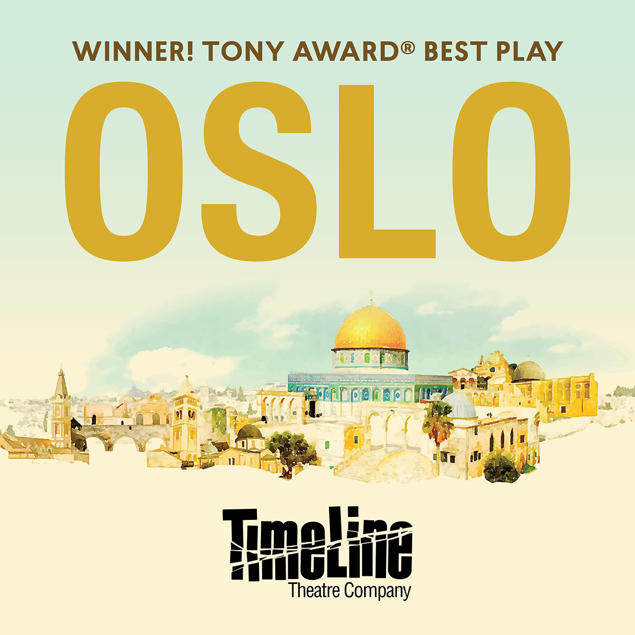 Poster for Oslo the play at Timeline Theatre Company in Chicago
