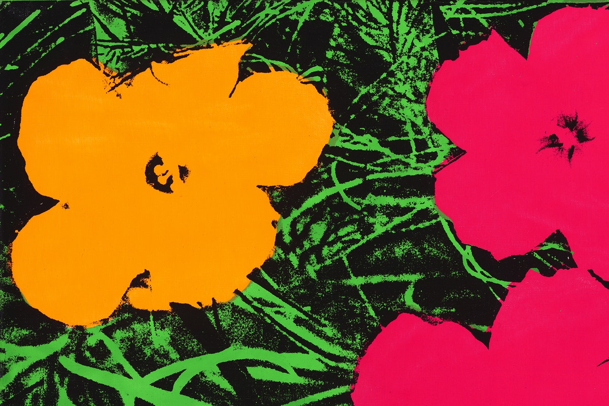 Andy Warhol painting of an orange and pink flowers