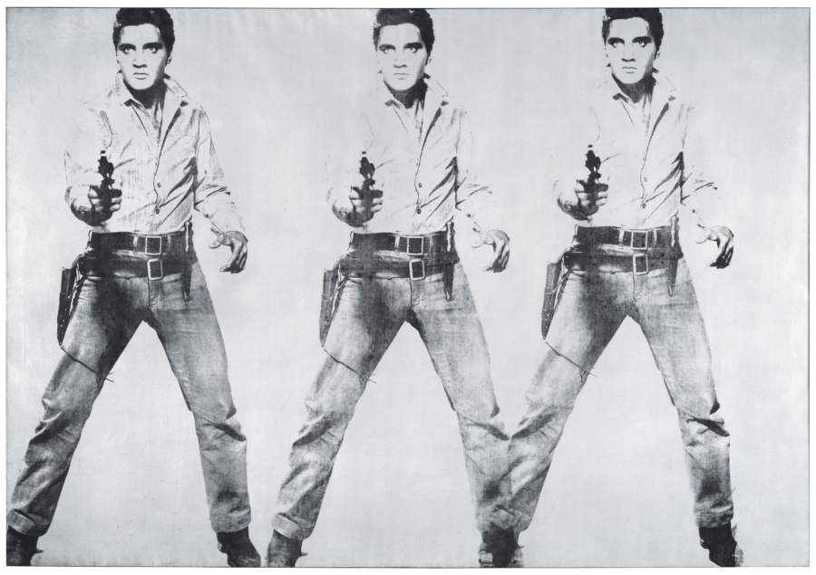 Andy Warhol. Triple Elvis [Ferus Type], 1963. The Doris and Donald Fisher Collection at the San Francisco Museum of Modern Art. © 2019 The Andy Warhol Foundation for the Visual Arts, Inc. / Artists Rights Society (ARS), New York.