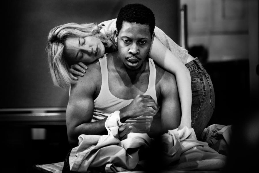 Carrie Coon and Namir Smallwood in rehearsal for BUG at Steppenwolf
