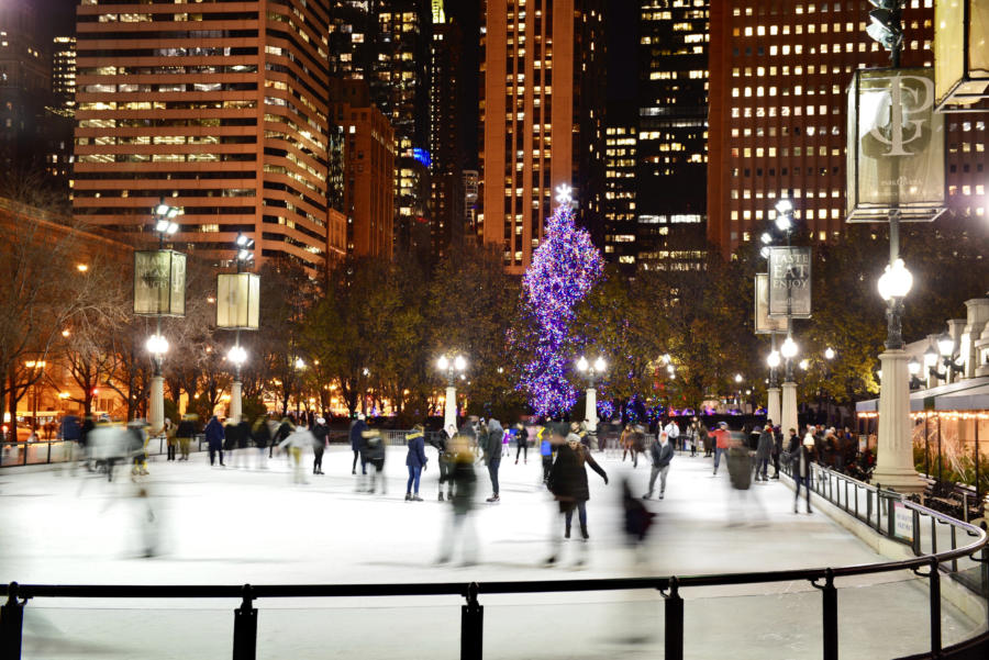 Ice skaters at the McCormick Tribune Ice Rink in Millennium Park.