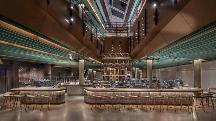 Interior of the Starbucks Reserve Roastery in Chicago