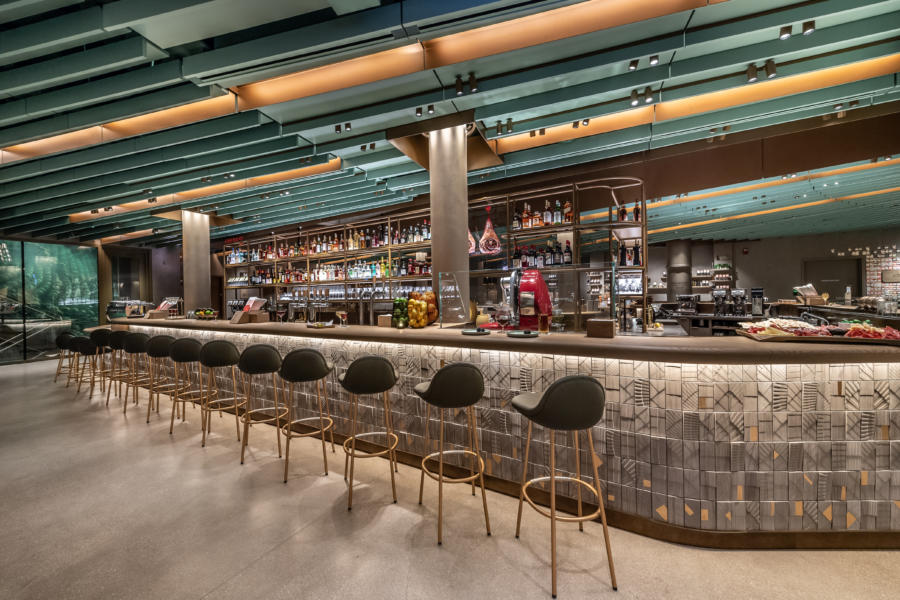 View of bar and stools inside the Starbucks Reserve Roastery in Chicago