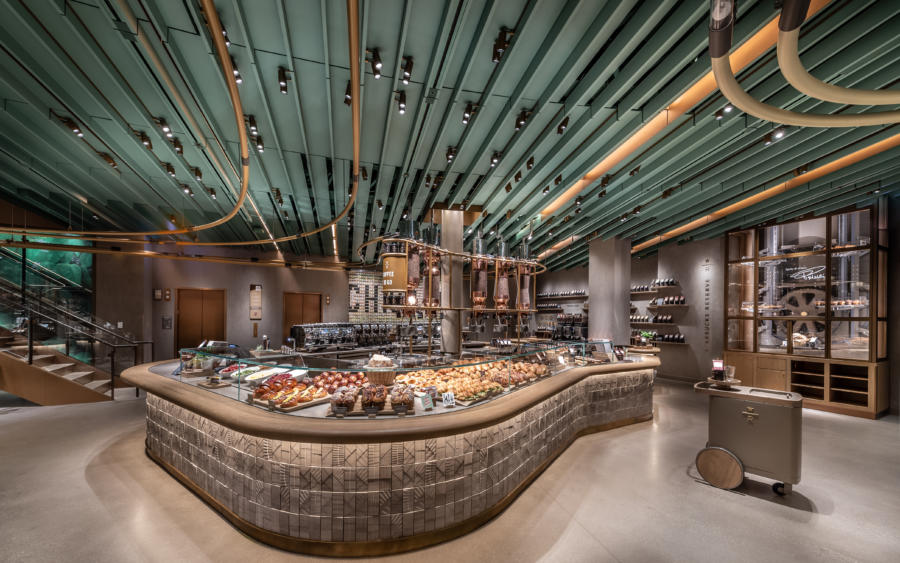 Food bar in the Starbucks Reserve Roastery in Chicago