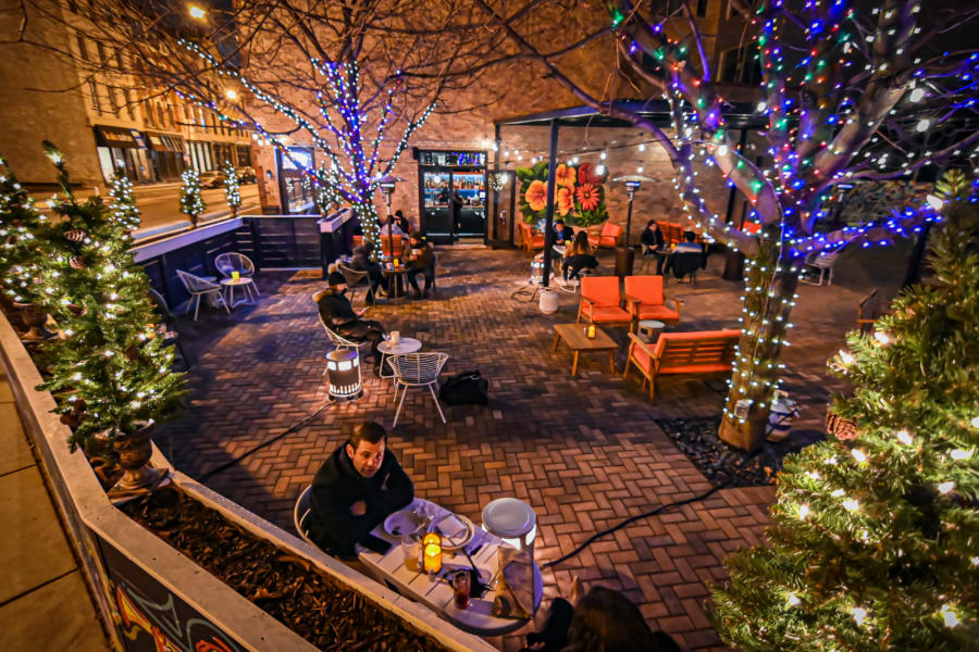 The Dandy Crown patio in winter