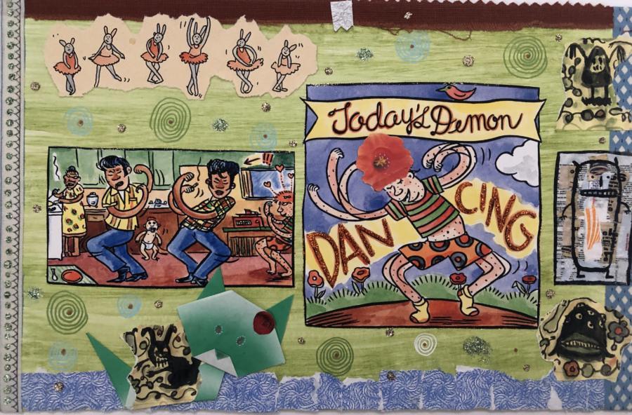Lynda Barry, 100 Demons: Dancing, 2000-02. Courtesy Adam Baumgold Fine Art