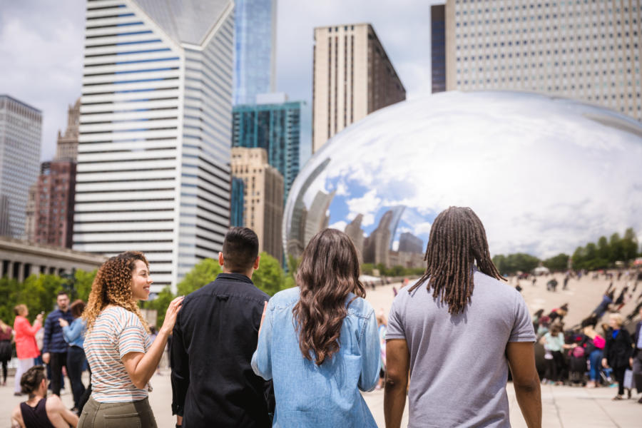 Young people at The Bean