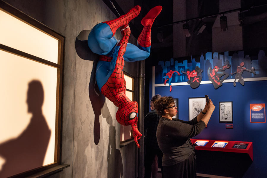 Spiderman at the Marvel exhibit at MSI