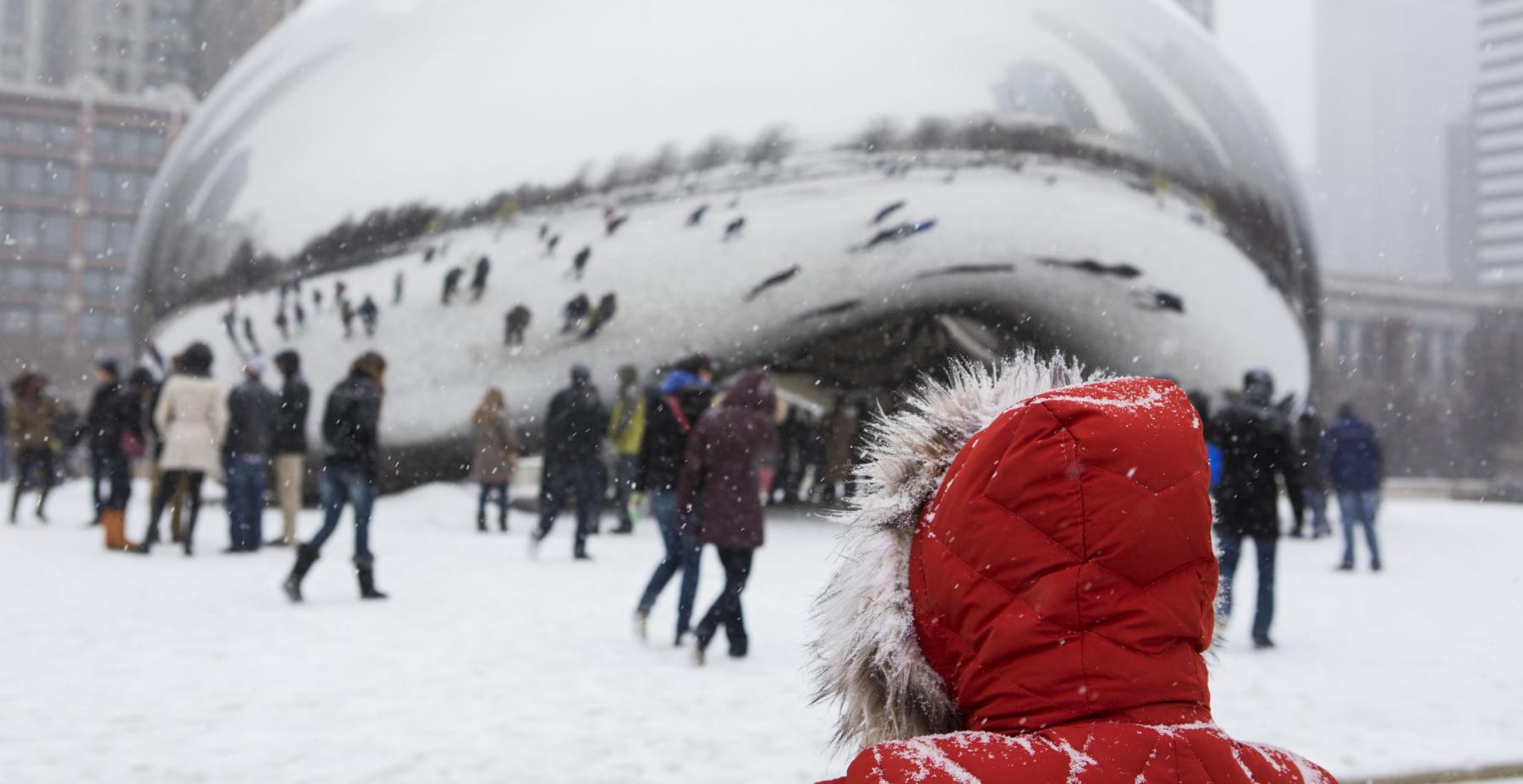A snowy Bean in Millennium Park in winter