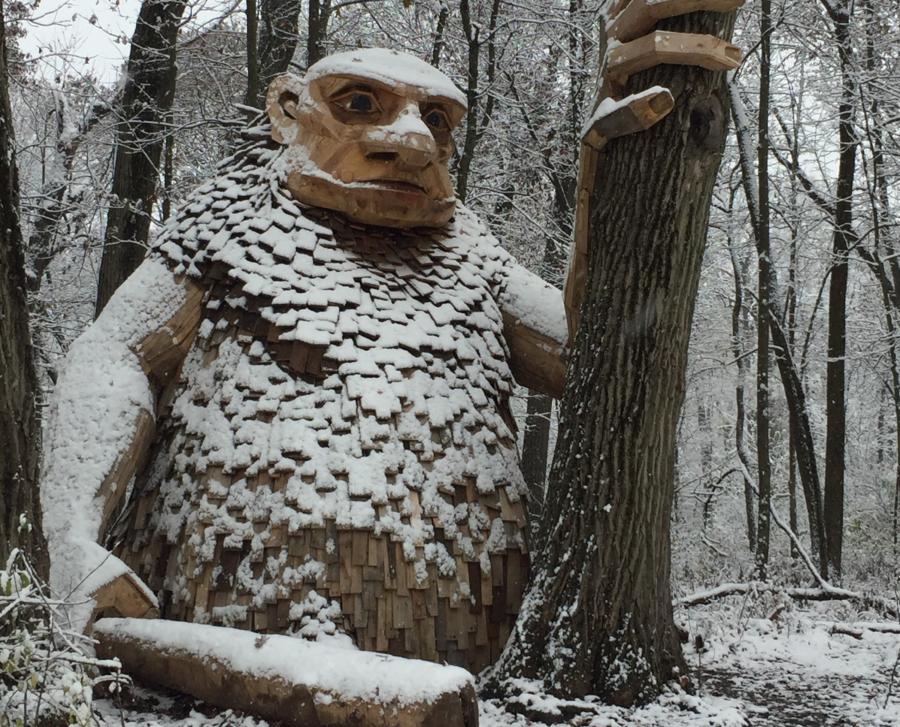 A statue at Troll Hunt at Morton Arboretum
