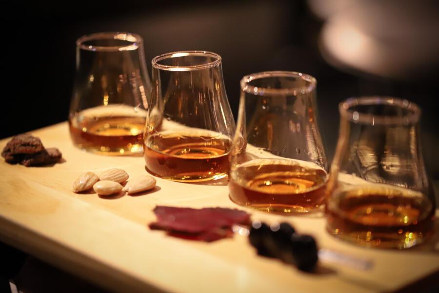 A whiskey flight