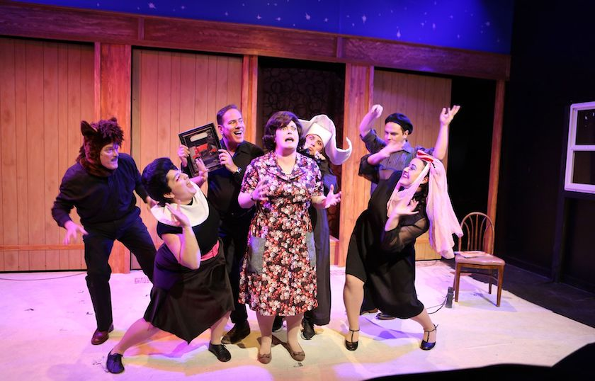 The cast of hell in a Handbag on stage