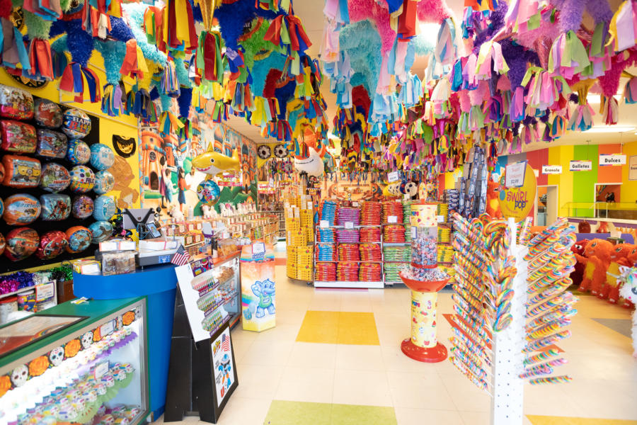 Colorful candy treats and pinatas decorate the inside of Dulcelandia in Chicago's Little Village.